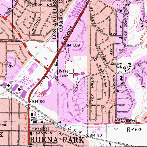 Topographic Map of Gordon H Beatty Elementary School, CA