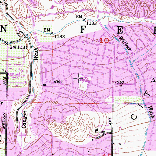 Topographic Map of Beckford Elementary School, CA