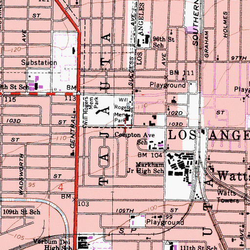 Topographic Map of Watts Branch Los Angeles Public Library, CA