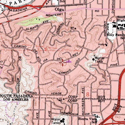 Topographic Map of Monterey Hills Elementary School, CA