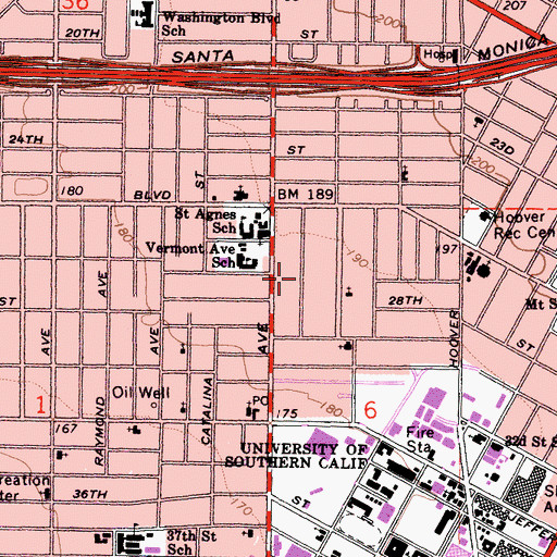 Topographic Map of Menlo Avenue-West Twenty-ninth Street Historic District, CA