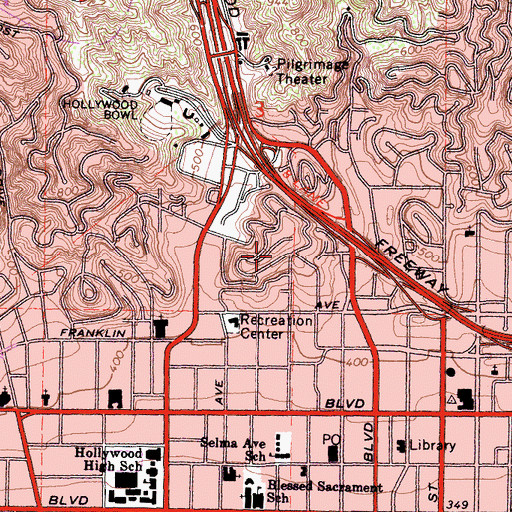 Topographic Map of Whitley Heights Historic District, CA