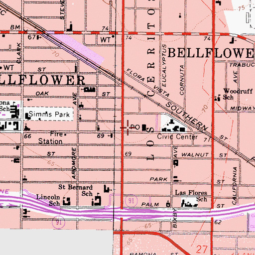 Topographic Map of Bellflower Post Office, CA
