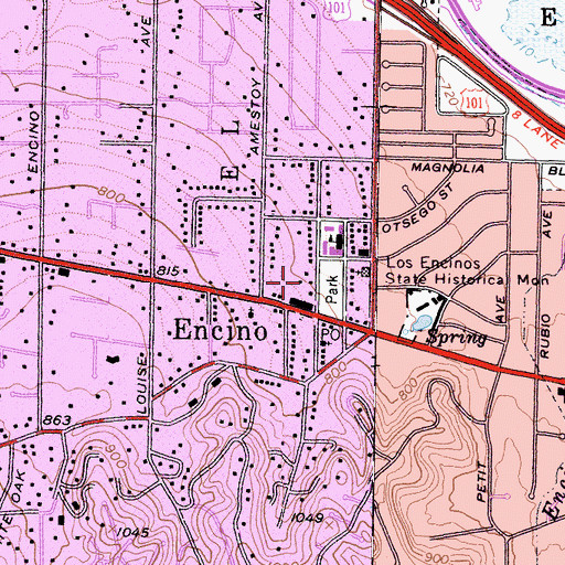 Topographic Map of Genesta Station Encino Post Office (historical), CA