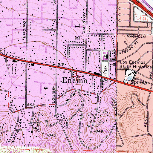 Topographic Map of Los Encino School, CA