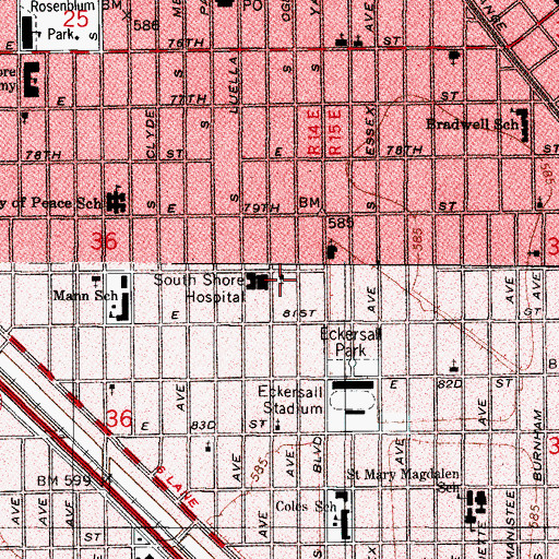 Topographic Map of Calvary Baptist Church of Chicago, IL