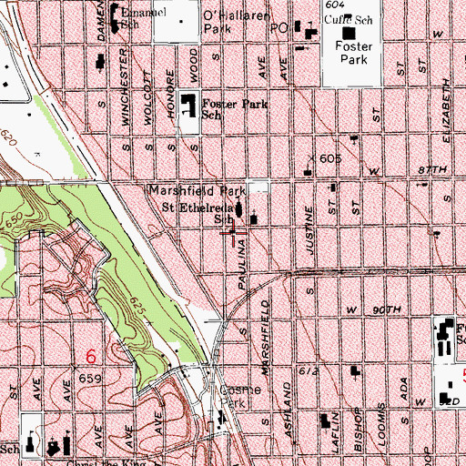 Topographic Map of Christian Youth Missionary Baptist Church, IL