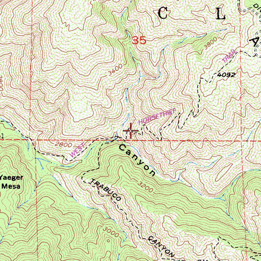Topographic Map of West Horsethief Trail, CA