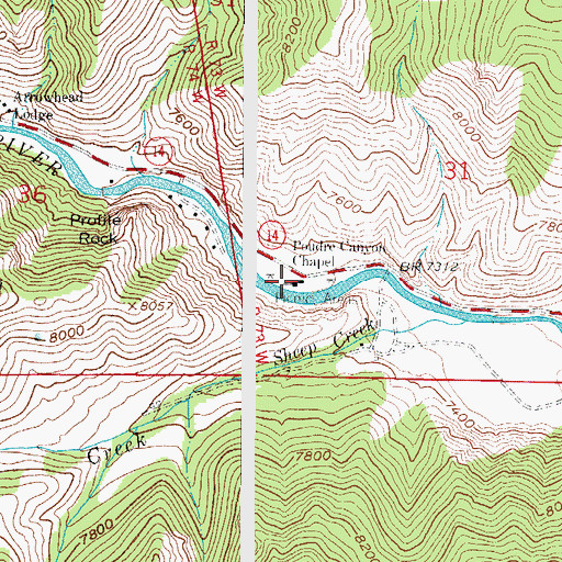 Topographic Map of Poudre Canyon Chapel, CO