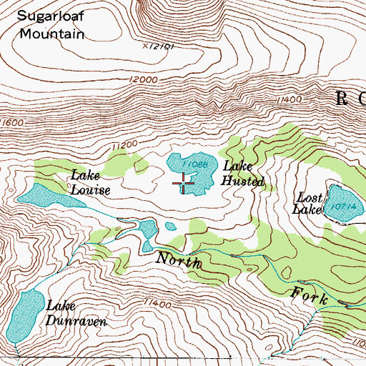 Topographic Map of Lake Husted, CO