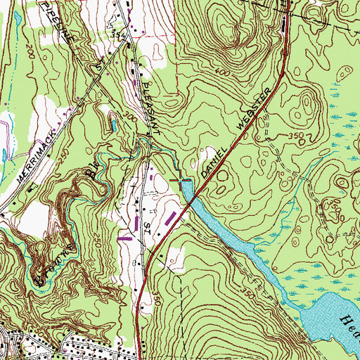 Topographic Map of Heads Pond Dam, NH