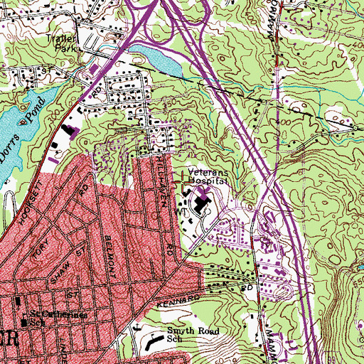 Topographic Map of Oak Hill Reservoir Dam, NH