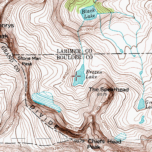 Topographic Map of Frozen Lake, CO