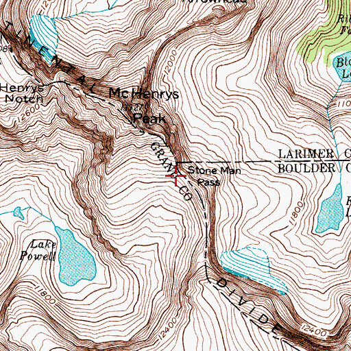 Topographic Map of Stone Man Pass, CO