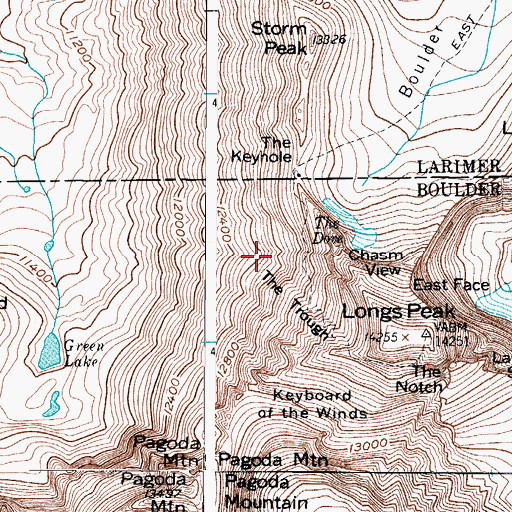 Topographic Map of The Trough, CO