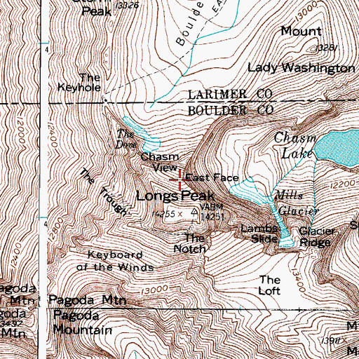 Topographic Map of East Face, CO