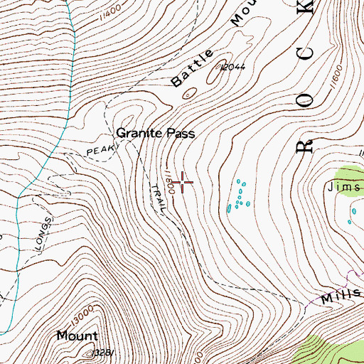 Topographic Map of East Longs Peak Trail, CO
