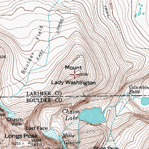 Topographic Map of Mount Lady Washington, CO