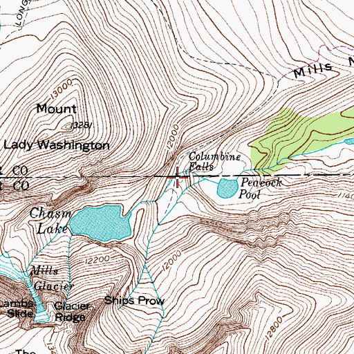 Topographic Map of Columbine Falls, CO