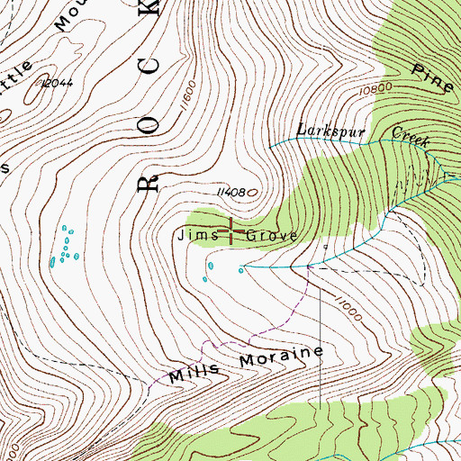 Topographic Map of Jims Grove, CO