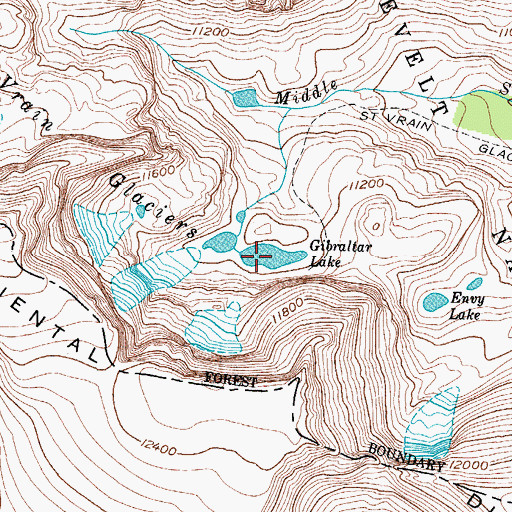Topographic Map of Lake Gibraltar, CO