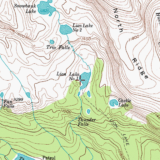 Topographic Map of Lion Lake Number 1, CO