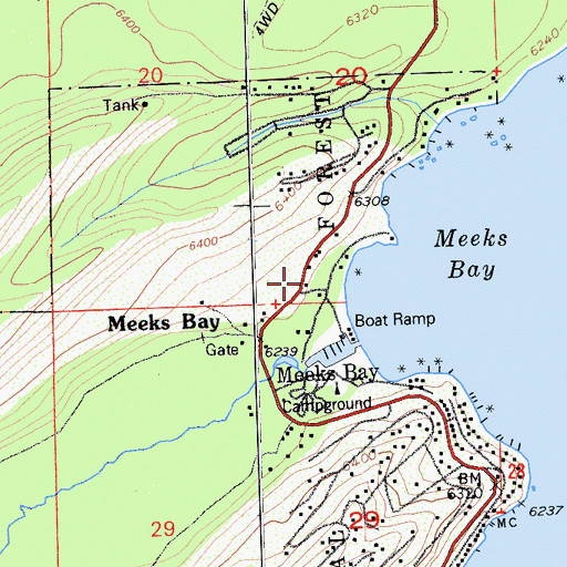 Topographic Map of Meeks Bay Post Office (historical), CA