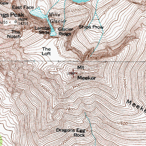 Topographic Map of Mount Meeker, CO