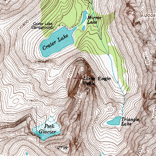 Topographic Map of Lone Eagle Peak, CO