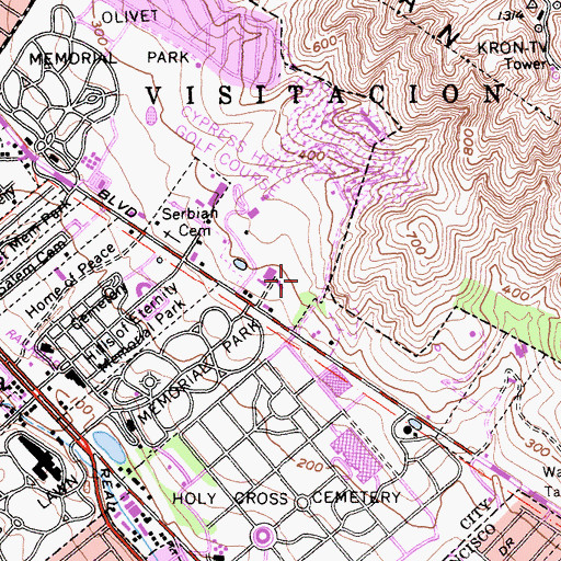 Topographic Map of Hoy Sun Memorial Cemetery, CA