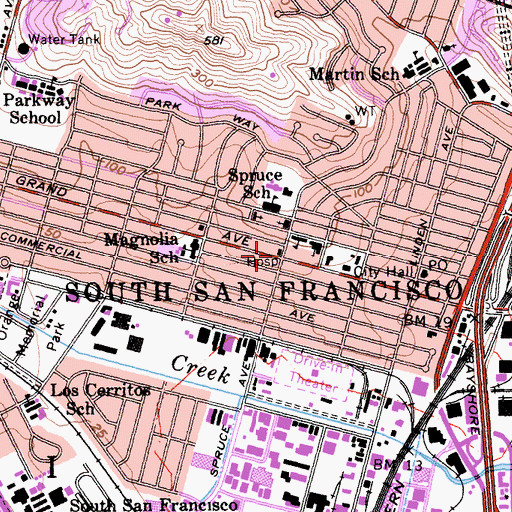 Topographic Map of Kaiser Foundation Hospital, CA