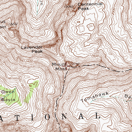 Topographic Map of Mount Moss, CO