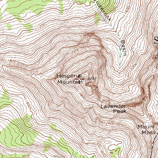 Topographic Map of Hesperus Mountain, CO