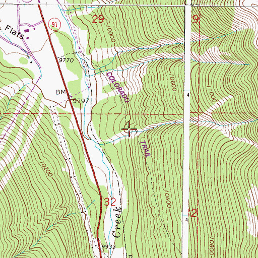 Topographic Map of Wheeler Trail, CO