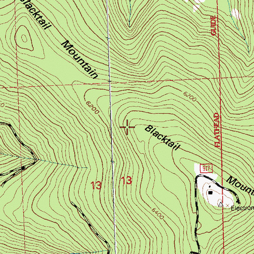Topographic Map of Blacktail Ski Area, MT