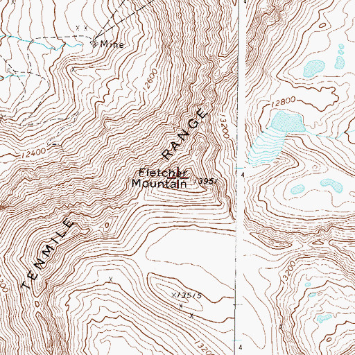 Topographic Map of Fletcher Mountain, CO