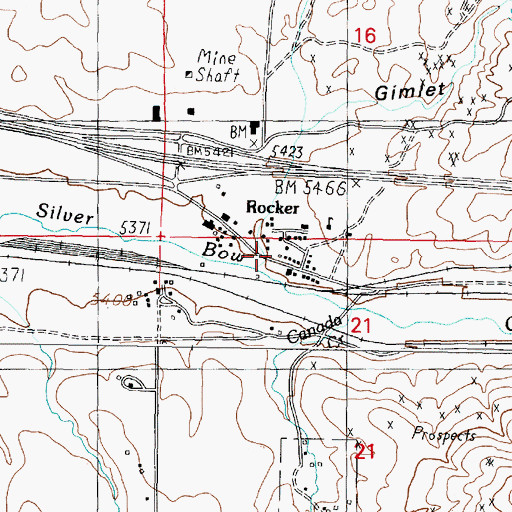 Topographic Map of Rocker (historical), MT