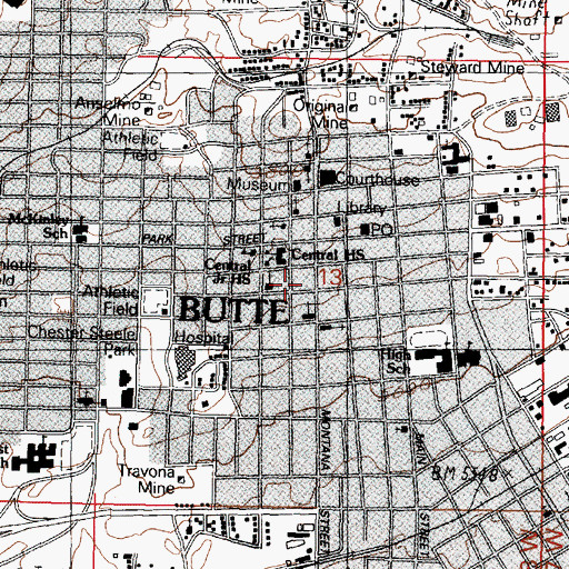 Topographic Map of Butte - Silver Bow Fire Department Station 1, MT