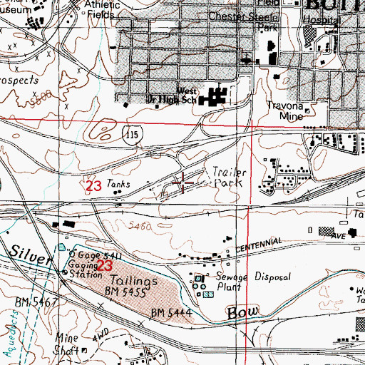 Topographic Map of Hamblin Heights Mobile Village, MT