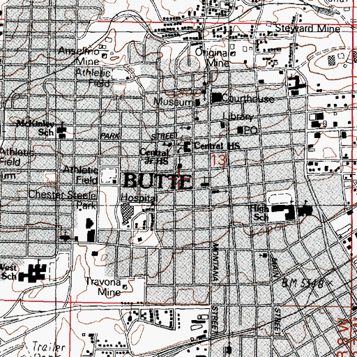 Topographic Map of Mercury Street Medical, MT