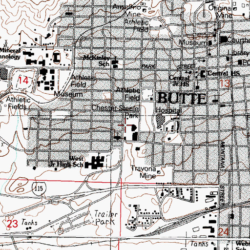 Topographic Map of Advanced Dermatology of Butte, MT
