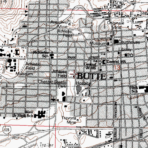Topographic Map of Butte Orthopedic Fracture Clinic, MT