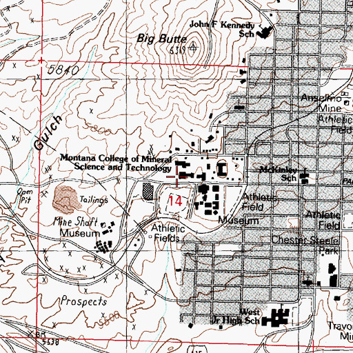 Topographic Map of Montana Tech of the University of Montana Library, MT