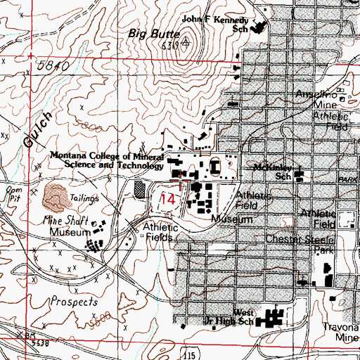 Topographic Map of Mining/Geology Building, MT