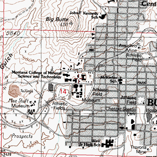 Topographic Map of Dormitory, MT