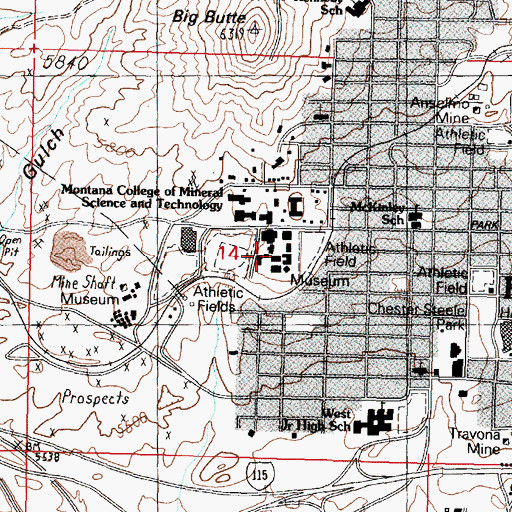 Topographic Map of Physical Plant, MT