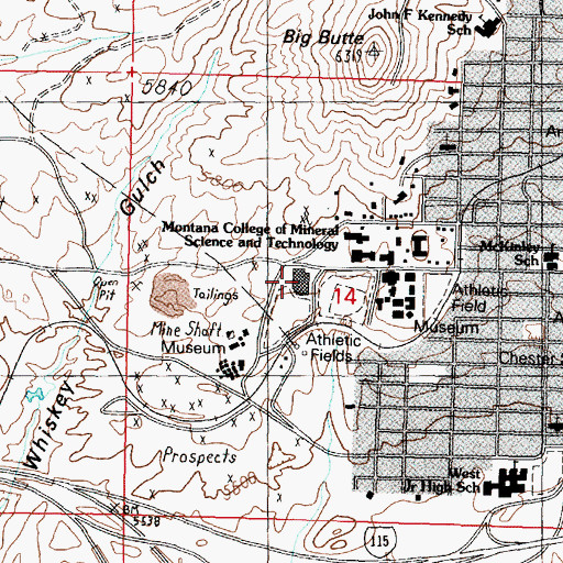 Topographic Map of Health, Physical Education and Recreation Building, MT