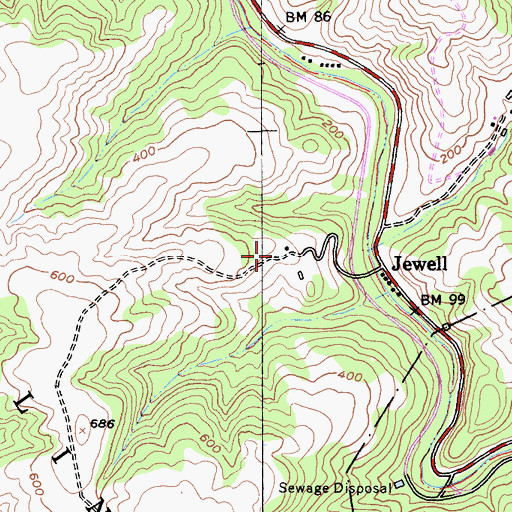 Topographic Map of Jewell Trail, CA