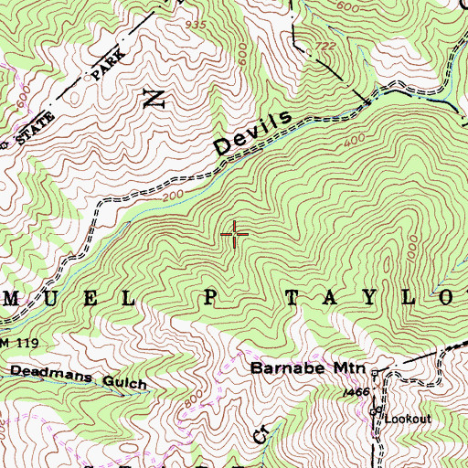 Topographic Map of Stairstep Falls Trail, CA