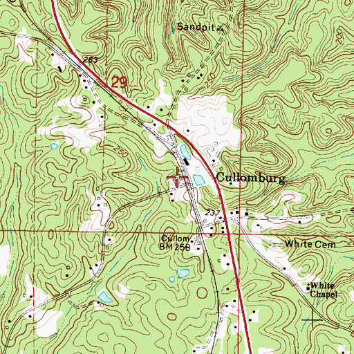 Topographic Map of Cullomburg Cemetery, AL